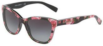 Dolce & Gabbana Junior Square Floral-Print Sunglasses, Black/Rose $130 thestylecure.com