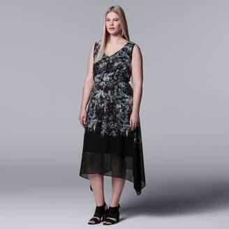 Vera Wang Plus Size Simply Vera Print Handkerchief Hem Dress