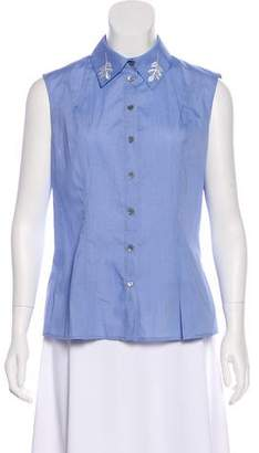 Mary Katrantzou Sleeveless Collar Top