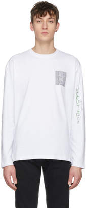Raf Simons White Long Sleeve Joy Division Unknown Pleasures Substance T-Shirt