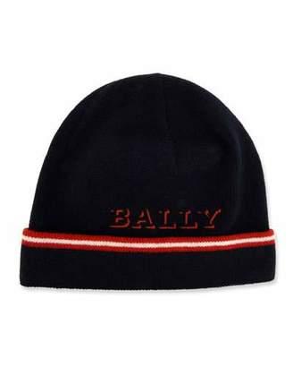 Bally Men's Contrast-Striped Wool Beanie Hat