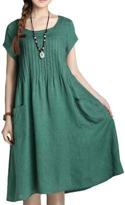Minibee Women's Summer Solid Color Dress with Two Pockets (L, )