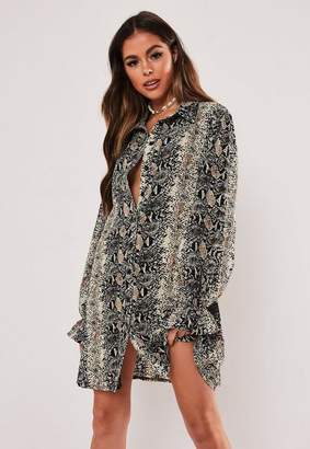 Missguided Grey Snake Print Oversized Shirt Dress, Grey