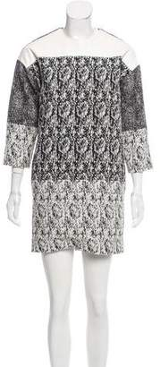 Celine Leather-Accented Knit Dress