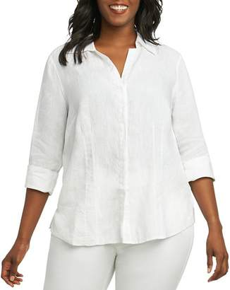 Foxcroft Plus Taylor Three-Quarter-Sleeve Shirt