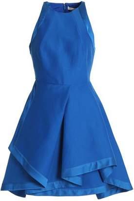 Halston Satin-Trimmed Cotton And Silk-Blend Crepe Mini Dress