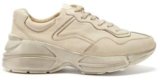 Gucci Rhyton Worn Effect Low Top Leather Trainers - Womens - Cream
