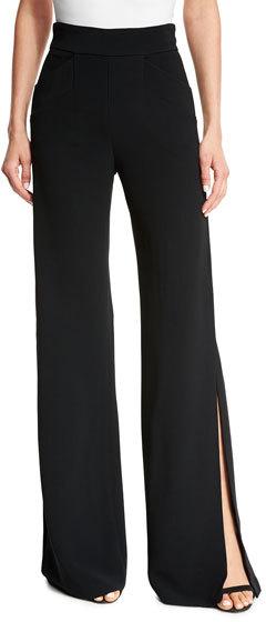 AlexisAlexis Aubree Side-Slit Wide-Leg Pants, Black