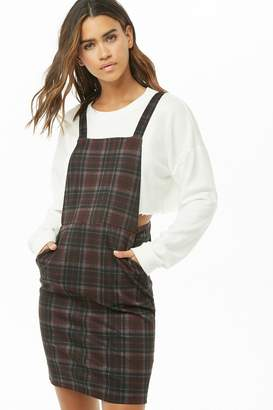 Forever 21 Plaid Overall Mini Dress