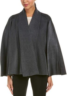 Elie Tahari Leather-Trim Wool Cape