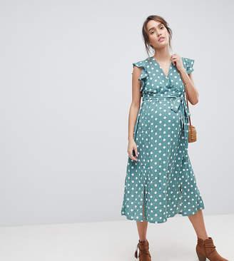 Glamorous Bloom Sleeveless Midi Dress With Flutter Sleeves In Polka Dot