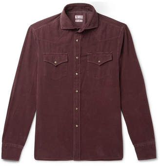 Brunello Cucinelli Cotton-Corduroy Western Shirt - Men - Burgundy