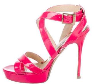 Jimmy Choo Patent Leather Crossover Sandals
