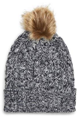 26abf7a738ff1 ... Nordstrom · Sole Society Cable Knit Beanie with Faux Fur Pom