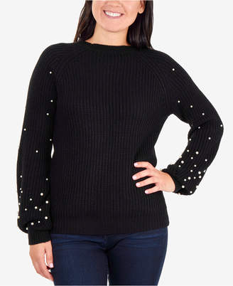 NY Collection Embellished Balloon-Sleeve Sweater