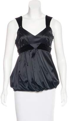 John Galliano Sleeveless Velvet-Trimmed Top