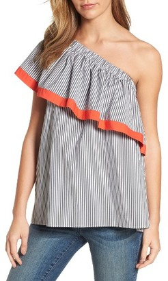 Women's Vince Camuto Ruffle One-Shoulder Blouse $99 thestylecure.com