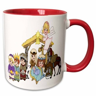 3dRose Cute Nativity With Three Wise Men and Angel Illustration - Two Tone Red Mug, 11-ounce