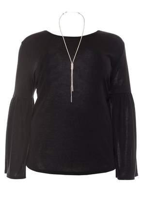 Quiz Curve Black Light Knit Frill Sleeve Necklace Top