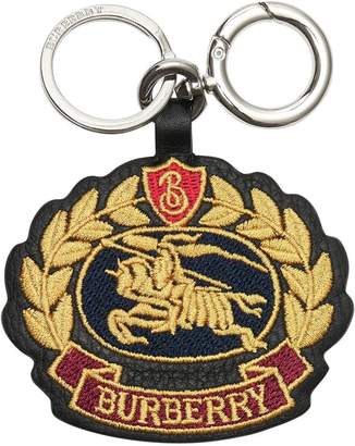 Burberry Embroidered Archive Logo Leather Key Charm