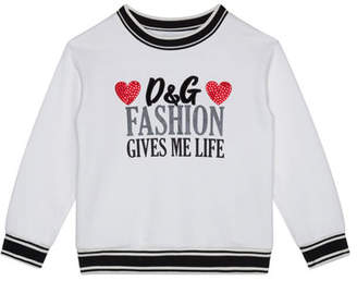 Dolce & Gabbana Girl's Fashion Gives Me Life Sweatshirt, Size 8-12