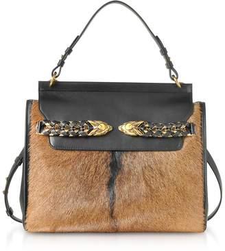 Roberto Cavalli Black Leather and Natural Pony Hair Satchel Bag