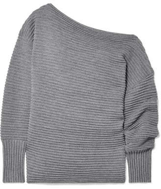 Victoria Beckham Victoria, One-shoulder Ribbed Merino Wool Sweater - Gray