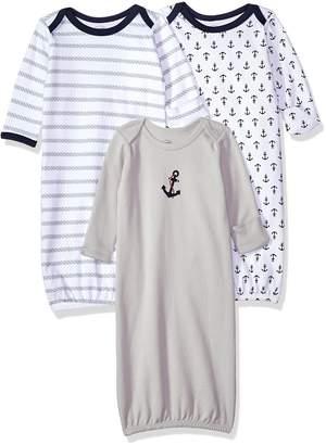Luvable Friends Unisex 3 Pack Cotton Gown, Boy , 0-6 Months
