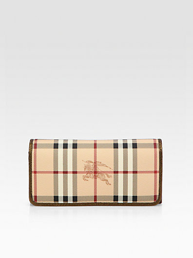 Burberry Penrose Coated Canvas & Metallic Trim Continental Wallet