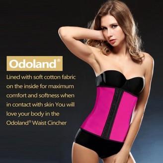 Odoland Women Body Shaper Latex Sport Girdle Waist Training Corset Waist Shaper Underbust Shapewear Size:S-Rose