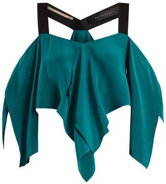 Roland Mouret Bach off-the-shoulder draped silk crepe top