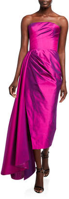 Rasario Taffeta Strapless Draped-Waist Dress