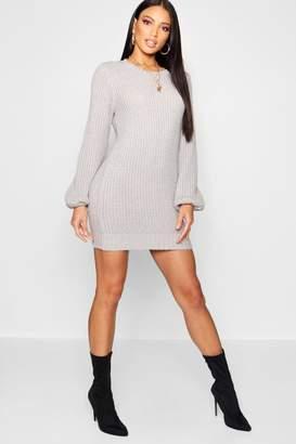boohoo Rib Detail Blouson Sleeve Jumper Dress