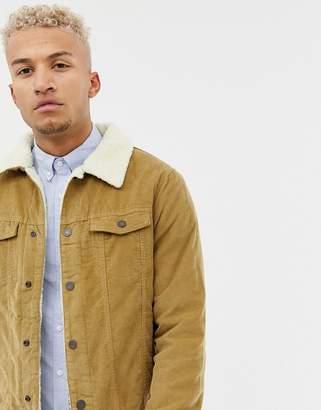 Pull&Bear fleece lined cord jacket in tan
