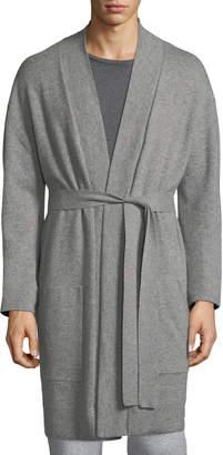 Neiman Marcus Cashmere Patch-Pocket Robe