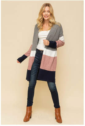 Hem & Thread Color/block Long Cardigan