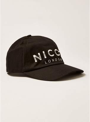 Topman Mens Black NICCE Large Logo Curve Peak Cap