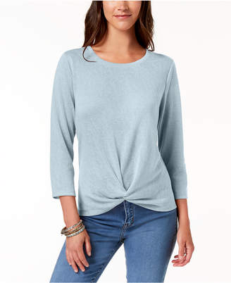 Style&Co. Style & Co Petite Knot-Front Top, Created for Macy's