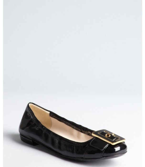 Prada black patent leather buckle detail ballet flats