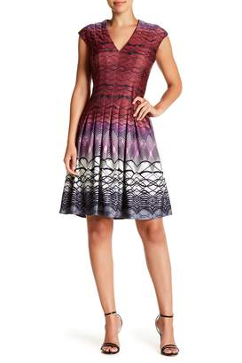 Gabby Skye Ombre Geo Cap Sleeve Fit & Flare Dress