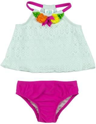 Baby Girl Kiko & Max Crochet Flower Halter Tankini Top & Bottoms Swimsuit Set