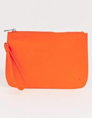 Asos Design DESIGN zip top clutch in neon