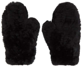 Yves Salomon Black Fur Handwarmer Gloves