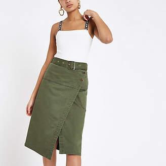 River Island Khaki wrap utility denim midi skirt