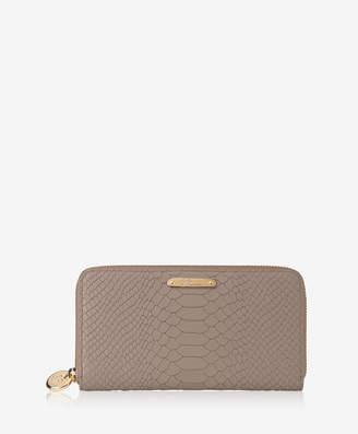 GiGi New York Large Zip Around Wallet, Black Embossed Python