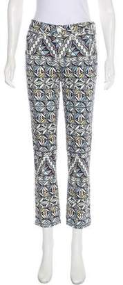 Tory Burch Mid-Rise Straight-Leg Printed Jeans