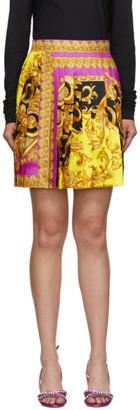 Versace Pink Baroque Pleated Miniskirt