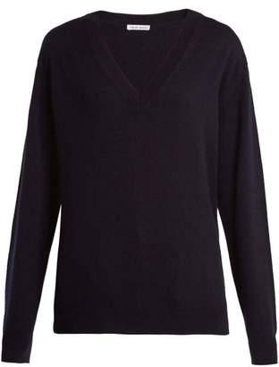 Tomas Maier V Neck Fine Knit Cashmere Sweater - Womens - Navy