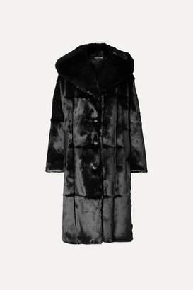 Tom Ford Oversized Hooded Leather-trimmed Faux Fur Coat - Black