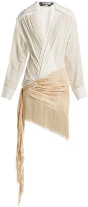 Jacquemus Plunge-neck twisted crepe and cotton dress